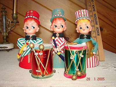 "3 Vintage Christmas Pixies - Music - Drums - Made in Japan - 7 1/2"" - VGC"