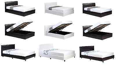 Faux Leather Ottoman Storage or Low Frame Bed Black Brown White + Mattress