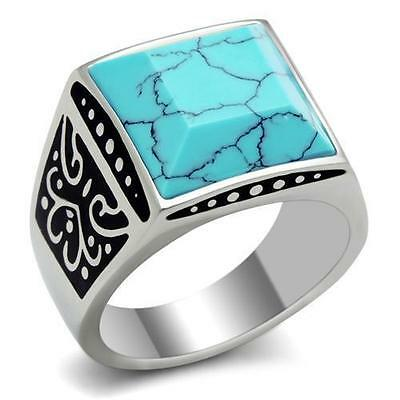 Men's Stainless Steel Square Cut Blue Turquoise Raised Emperor Ring SZ 8-13
