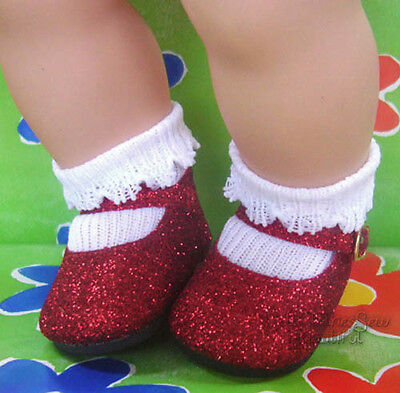 Red Glitter Sparkle Shoes for Bitty Baby + Twins Doll Clothes Moniques Brand