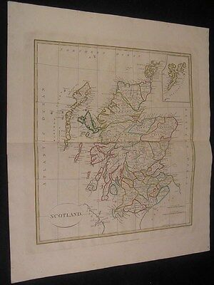 Scotland Edinburgh Glasgow nice 1808 Longman antique folio engraved color map