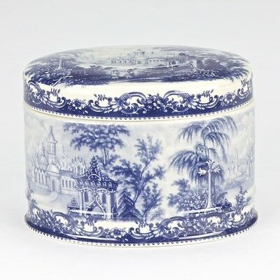 NEW Antique style Porcelain Blue White edwardarian Bavaria trinket ornate jar