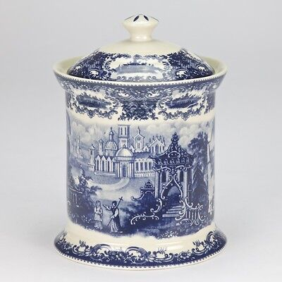 NEW Porcelain Blue White Edwardian tea bag coffee biscuit storage Canister Jar