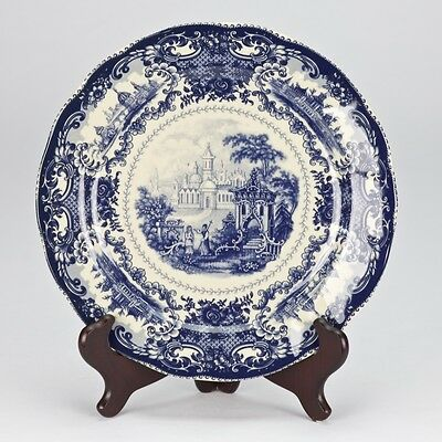 NEW antique style porcelain decorative plate vintage Blue white Willow edwardian