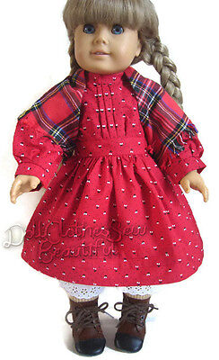 Red School Dress + Shawl + Ribbons made for American Girl Kirsten Doll Clothes