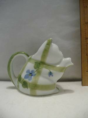 "Andrea by Sadek Small Cat Pitcher Floral & Stripe Design 2 3/4"" Tall x 3 3/4"