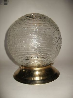 VINTAGE Brass Plated Ceiling Light Fixture CLEAR Bubble Bump GLASS Globe