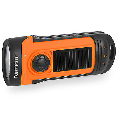 Waterproof Hand Crank/Dynamo & Solar Powered 3 LED Flashlight 3 Functions LED