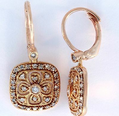 14K Rose,Yellow or White  Gold filigree Earring with Diamonds 0.35ct