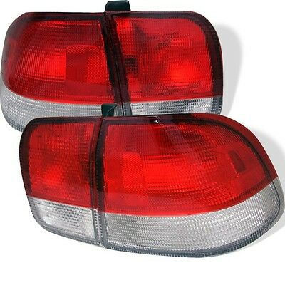 Honda Civic 1996 97 98 4Dr Tail Lights - Red Clear