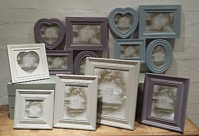 Multi Picture Frame Grey Purple Blue Vintage Chic Photo Wall Collage Heart