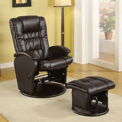 Casual Baby Nursing Glider Rocker Recliner Lounger Brown PU Leather w/ Ottoman
