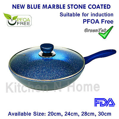 Non-Stick Frypan with Lid, Fry Pan, Blue Stone Coating, Pan, Induction, Ceramic