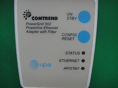 Comtrend UPA Powerline PowerGrid 902 Ethernet Adapter with Filter 125v-240v CAT5
