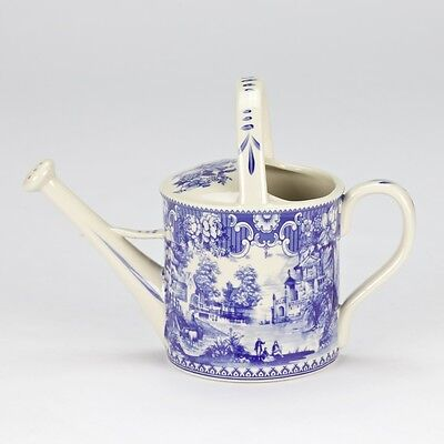 """Antique style Blue white ornate Porcelain Garden Water can collectible 14cm/5.5"""""""