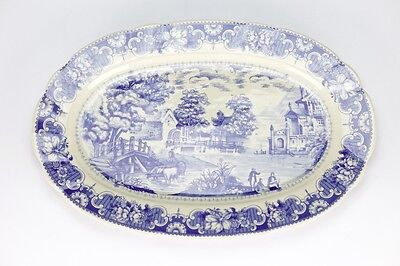 Antique vintage style Blue White edwardian Serving Plate Dish porcelain 32cm
