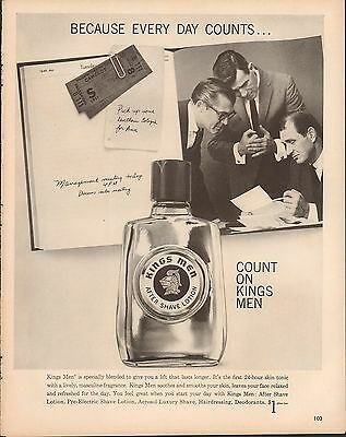 1961 KINGS MEN AFTER SHAVE LOTION EVERY DAY COUNT Big Full Size Vintage Ad 10x13