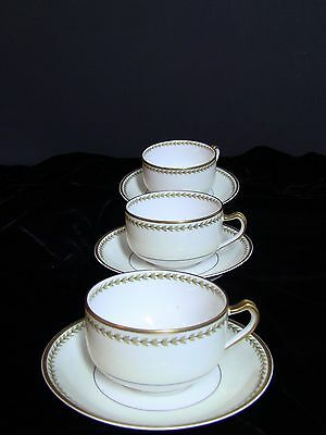 Haviland Limoges Schleiger #791 Yellow Laurel Cups and Saucers / Set of 3