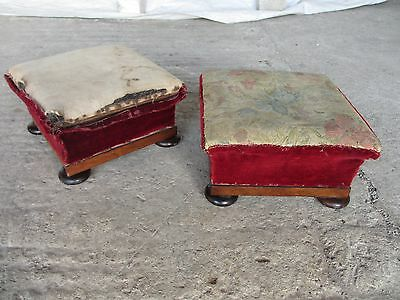 Pair of Georgian Square Mahogany Upholstered Foot Stools (ref 399)