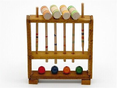 1:12 Scale Wooden Croquet Set Dolls House Miniature Toy Garden Accessory
