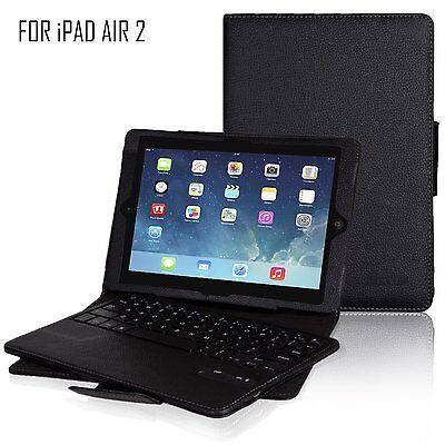 For Apple iPad Air 2 Slim Leather Case Stand+Bluetooth Keyboard Wireless New