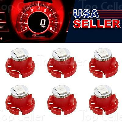 6x Red T4/T4.2 Neo Wedge LED Bulb Instrument A/C Climate Heater Base Lights