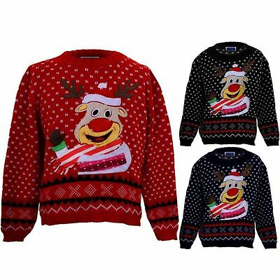 Girls Boys XMAS Festive Snow Childrens Rudolph Reindeer Christmas Knitted Jumper