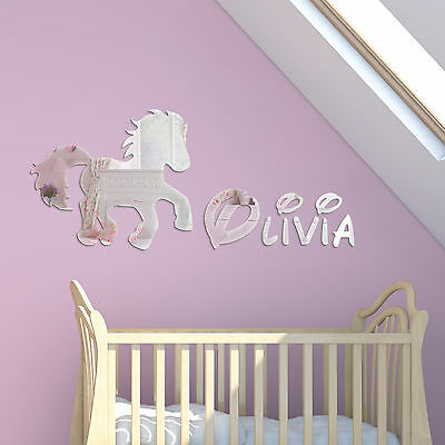 Acrylic Mirror Pony Childrens Name Wall Plaque Disney Girls Kids Bedroom Decor