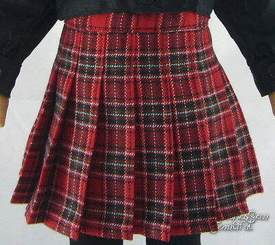 Red Plaid Winter Skirt W/ Pleats made for American Girl Doll Clothes