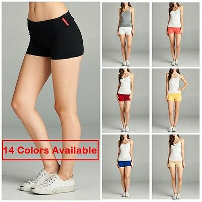 Active Women Junior Yoga Shorts Workout Gym Fold Over Waistband Lounge Pants