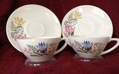 2 Edwin Knowles China #X4020  SCANDIA Cups & Saucers Flowers On White Set Of 2