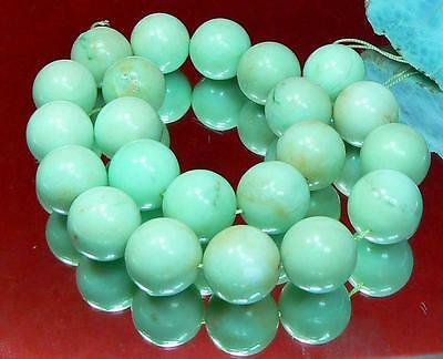 RARE NATURAL UNTREATED AUSTRALIAN APPLE GREEN CHRYSOPRASE ROUND BEADS 18mm