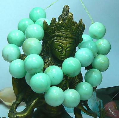 RARE NATURAL UNTREATED AUSTRALIAN APPLE GREEN CHRYSOPRASE ROUND BEADS 16mm