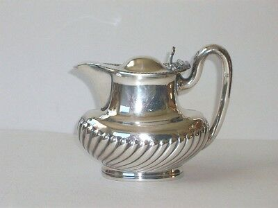 RARE MINT MERIDEN BRITANNIA SYRUP PITCHER RIBBED SILVER SOLDERED