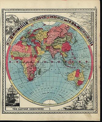 Eastern Hemisphere very World Decorative Flags 1885 antique hand color map