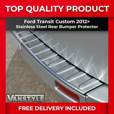 Ford Transit Custom Rear Bumper Protector Polished Stainless Steel Cover Chrome