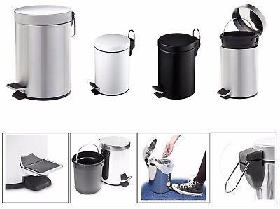3 Litre Pedal Bin Lid Rubbish Waste Dust Litter Paper Bins Black White Home
