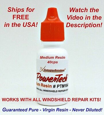 PowerTech Medium Auto Glass Windshield Rock Chip Crack UV Repair Resin .5oz 15 m