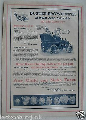 Buster Brown Stocking  Ad And Contest  1905  Win A Acme Car 1905