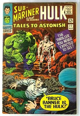 TALES to ASTONISH #77 Bruce Banner is The Hulk! Marvel Comic Book ~ VG