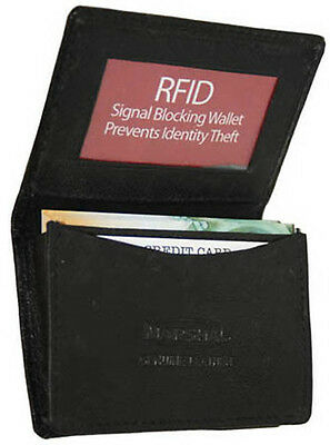 Black RFID Blocking Leather Expandable Credit Card ID Holder Mens Wallet New