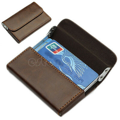 Fashion Leather Business Name Credit ID Cards Holder Wallet Case