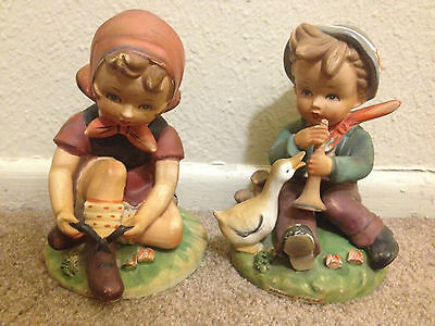 Beautiful Lot 2 pc Vintage BOY and GIRL FIGURINES by Erich Stauffer with duck