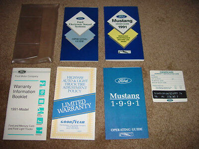 1991 Mustang Factory Original Complete Owners Manual Set w/Blank Owner Card New