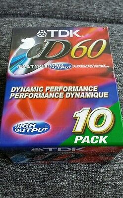 Lot of 10 TDK D60 High Output Audio Cassette Tapes