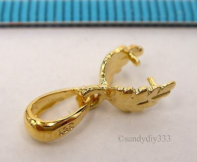 1x REAL 18K GOLD plated STERLING SILVER LEAF PINCH IN PENDANT BAIL CLASP G201