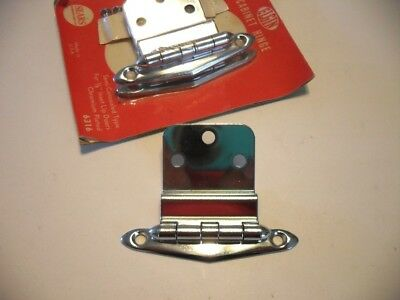 "Vintage NOS CHROME Cabinet Door HINGES 3/8"" Inset Art Deco Chevron V Shaped"
