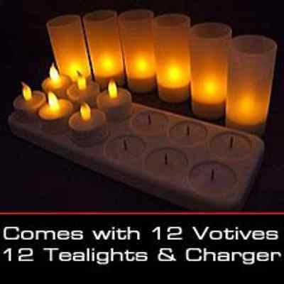 LED Rechargeable Flameless Tea Light Candles with Diffused Votives. Set of 12  B