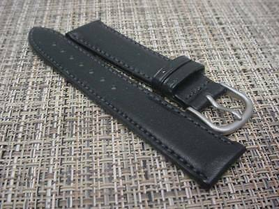 Mens Hadley Roma NOS MS892 20mm Black Genuine Leather Watch Band W1349