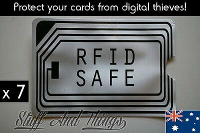 RFID BLOCKING SLEEVE x 7, Secure Credit Card Protector. ANTI THEFT SCAN SAFE